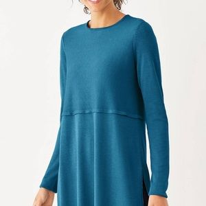 J. Jill Women's Grace Teal Sweater Tunic Top